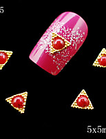 035 10PCS 5*5mm 3d nail art supplies Golden Red Pearl Alloy Metal Triangle Shape DIY rhinestone alloy nails decoration