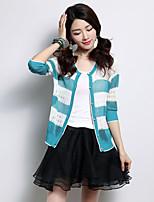 YINGYIYANG® Women's Korean Striped Openwork Seven Quarter Sleeve Sunscreen Fit Cardigan Knitwear