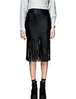Women's Sexy Tassel Hem Zipper Open High Waist PU Leather Bodycon Skirts