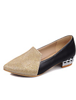 Women's Shoes PU Summer/ Pointed Toe Heels Office & Career / Casual Chunky Heel Split Joint Black / Silver / Gold