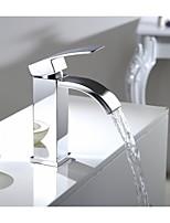 seule cascade poignée vanité salle de bain navire de robinet d'évier avec extra large bec lavabo mitigeur chrome rectangulaire