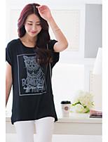 BIAOSHANG®Women's Casual Print Plus Sizes Micro-elastic T-shirt (Cotton)