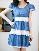 Maternity Sweet Lace Hem Stitching Denim Dress