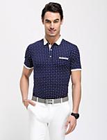 Men's Short Sleeve T-Shirt , Cotton/Spandex/Viscose Casual Plaids & Checks