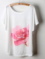 Women's Floral White T-shirt , Round Neck Short Sleeve Flower
