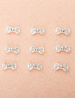 10PCS/Set Cute Black Bowtie Diamond 3D Alloy Nail Art Decoration
