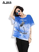 Damen T-Shirt  -  Loch/Ausgehöhlt Baumwolle/Andere Kurzarm Rundhalsausschnitt