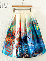 Women's Twilight Safflower Alone Building Print Micro-elastic Thin Midi Skirts (Satin/Polyester)