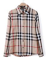 Women's Check Brown Shirt , Shirt Collar Long Sleeve