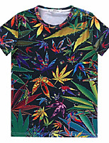 European Style TEE Digital Printing 3D T-shirt Grass Leaves Harajuku Sleeved T-shirt
