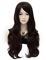 Duchess Style Heat Friendly Brown Long Curly Wavy Princess Cosplay Party Hair Wig Highlight Red