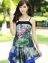 Women's Floral/Print/Patchwork Gray Vest , Strap Sleeveless