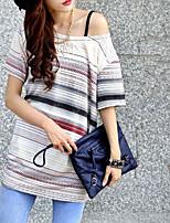 Damen T-Shirt Baumwoll-Mischung Kurzarm Asymmetrisch