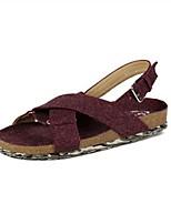 Women's Shoes Fabric Flat Heel Round Toe Sandals Casual Green/Gray/Burgundy