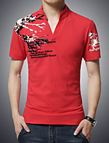 Men's Fashion V Collar Print Slim Fit Short Sleeve T-Shirt