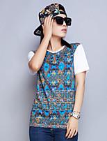 Damen T-Shirt Baumwolle Kurzarm Rundhalsausschnitt