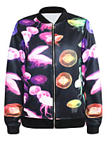 Women's Print Jackets , Casual Round Neck/Stand Long Sleeve