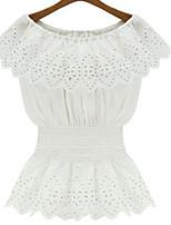 Women's Sexy Casual Lace Cute Plus Sizes Inelastic Short Sleeve Regular Shirt  (Chiffon/Lace)