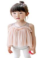 Kids Girls Sleeveless Vest Gauze Irregular Mini Dresses (Cotton Blends/Mesh)