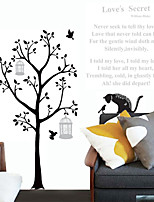 Wall Stickers Wall Decals, Cartoon Black Cat Tree Letters PVC Wall Stickers