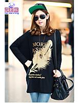 T-Shirt Da donna Rotonda Manica lunga Cotone