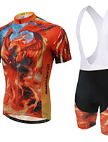 WEST BIKING® Men's Mountain Bike Clothing Bib Suit Breathable Fire Phoenix Wicking Cycling Clothing Bib Short Suit