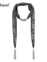 D Exceed  Women Sexy Black Grey Leopard Dot Pattern Chiffon Scarves with Pendant Silver Tassel Autumn Scarf