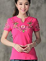 Women's Red/White/Black T-shirt , V Neck Short Sleeve Embroidery