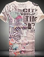 Men's V-neck Alternative Fashion 3D Animal Print T-shirt