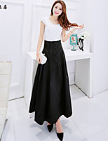 Women's Solid Black Skirts , Vintage/Casual/Cute/Party/Work/Maxi Maxi