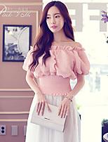 Pink Doll®Women's Bateau Casual/Lace Puff Sleeve Short Shirt