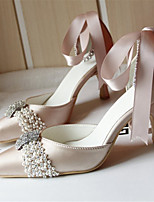 Women's Shoes Silk Chunky Heel Heels/Pointed Toe Pumps/Heels Wedding/Party & Evening Champagne