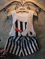 Cute Cat T-shirt Vest + Stripes Shorts Suits (2 Pcs)