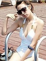 Women's Halter Bikinis , Solid Push-up/Wireless/Padless Bra Cotton/Nylon White/Black