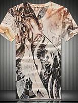 Men's Punk Fashion V-neck 3D Digital Printing Short Sleeved T-shirt