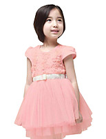 Summer Kids Girls Clothing Short Sleeve Waist tutu Skirt Cake Party Dresses (Cotton Blends)