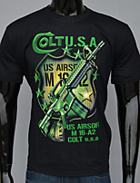 Men's Green Punk Hip Hop Firearms Printing Short-sleeved Cotton O-Neck T-shirts