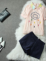 Women's Patchwork Pink/White/Multi-color Shirt , Peter Pan Collar Short Sleeve Beaded/Embroidery