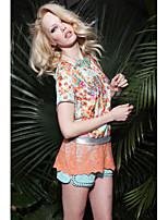 Damen T-Shirt Baumwolle/Organische Baumwolle Kurzarm Rundhalsausschnitt