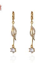 KuNiu Women's 18K Gold Plated Crystal Leaves Shape  Earrings ER0226