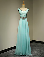 Formal Evening Dress A-line Scoop Floor-length Chiffon Dress
