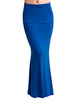 Women's Solid Blue/Red/Black/Green Skirts , Sexy Maxi