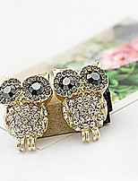 Diamond Alloy Owl Stud Earrings