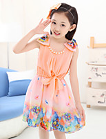 Girl's Summer Micro-elastic Opaque/Thin Sleeveless Dresses (Chiffon/Cotton)
