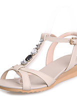 Women's Shoes Leather Wedge Heel Wedges / Slingback / T-Strap / Comfort Sandals Party & Evening / Dress