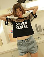 Women's Sexy/Casual Micro-elastic Short Sleeve Short T-shirt (Mesh/Cotton)