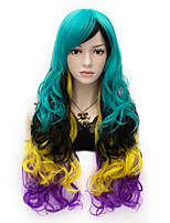 Harajuku Fashion Rainbow Color Sexy Long Curly Full Hair Wig