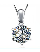Never Fade 1CT 6Prongs Setting SONA Simulate Diamond Pendant for Bride Sterling Silver Necklace 18K White Gold Plated