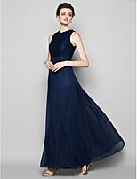 Floor-length Chiffon/Lace Bridesmaid Dress - Dark Navy Sheath/Column Jewel
