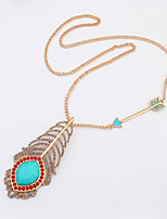 Women's European Style Fashion Wild Arrow Peacock Feather Necklace